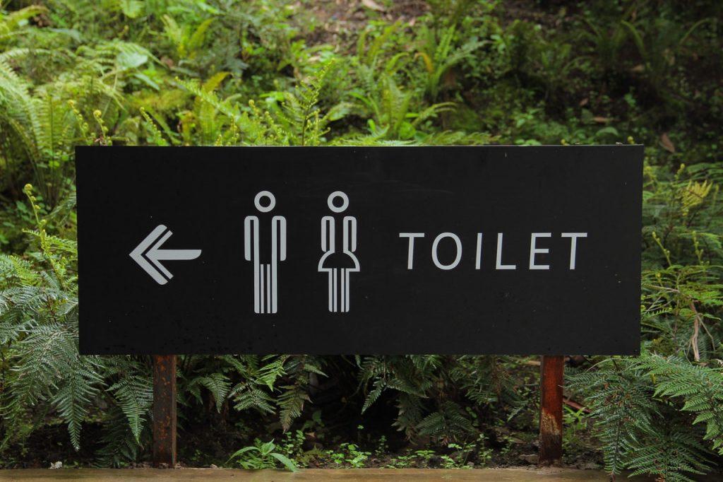 トイレはあっち
