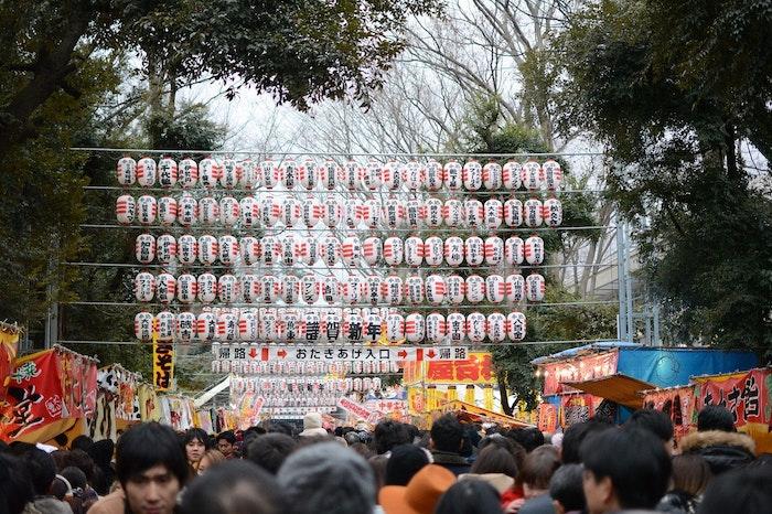 初詣に犬連れOKな神社に一緒に行く風景