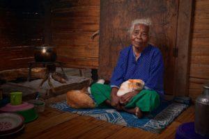 grandma and cat